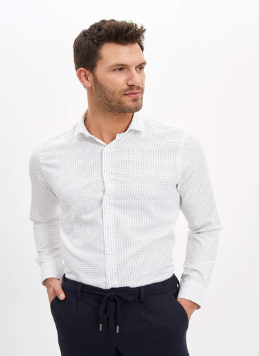 DeFacto Puantiye Desenli Slim Fit Gömlek Beyaz